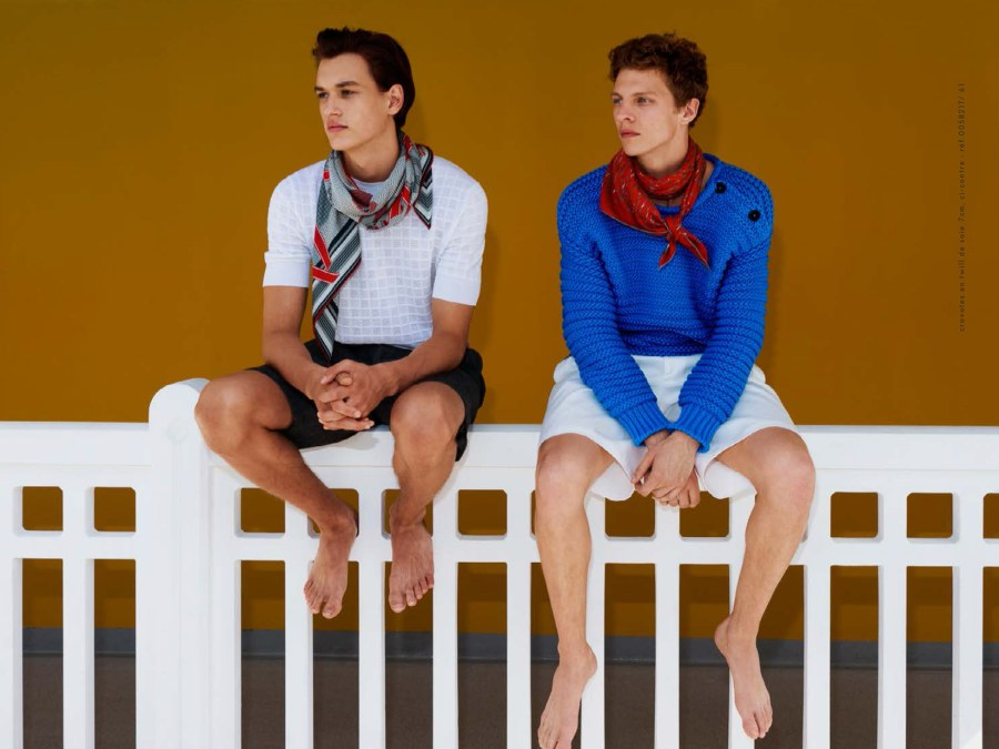 Tim Schuhmacher is leading the new Hermès Scarves and Ties Spring Summer 2016 shot by Walter Pfeiffer.