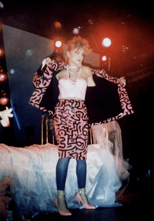 """Madonna performing """"Dress You Up"""" in a Keith Haring outfit at Haring's birthday party at Paradise Garage in New York on May 16, 1984"""