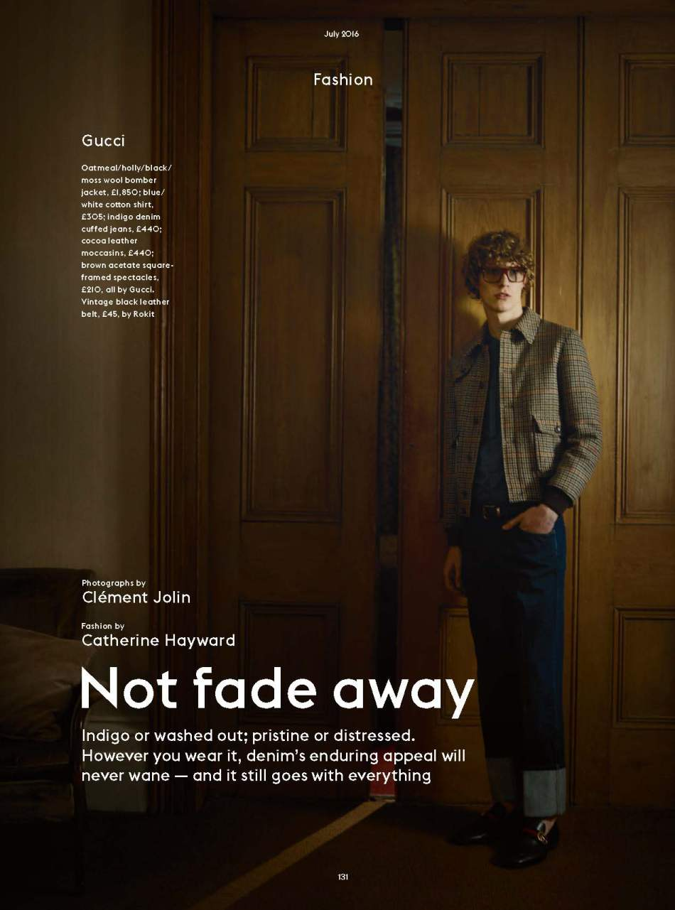 """Not Fade Away"" published at Esquire UK July 2016 photographed by Clement Jolin stars model Sven de Vries, styled Catherine Hayward and Grooming by Mike Harding."