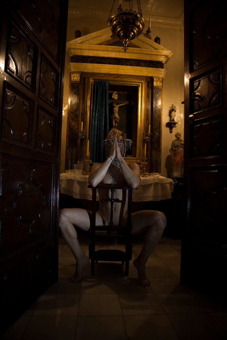 """""""Possession"""" is the new inspired work shot and filmed by photographer Jose Martinez featuring male model Nacho Sanchis playing a demon naked in a Church, could be radical exposing a demon touching himself along in a Church, this doesn't have anything with Religion. This is an artwork."""