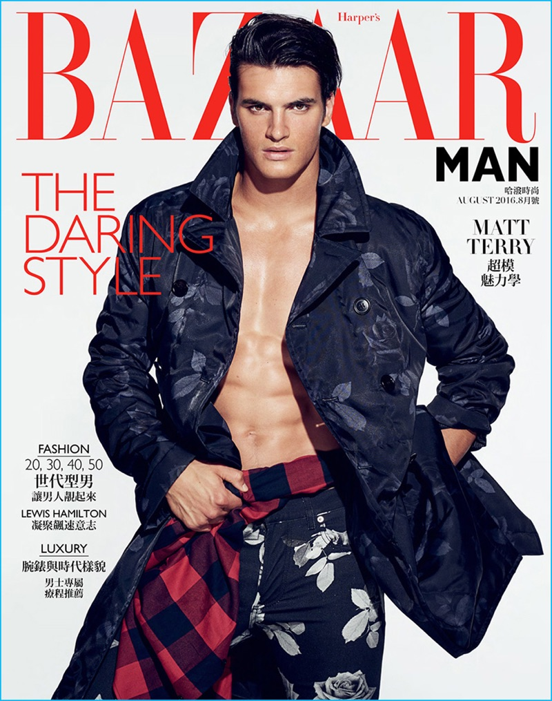 There's only one man who can be named super model, is Matthew Terry for the new cover of Harper's BAZAAR Taiwan Man August 2016.