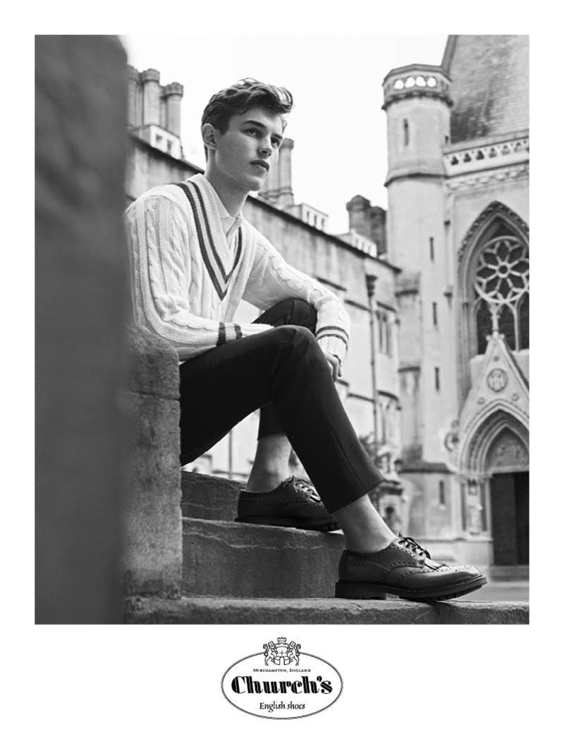 Timeless elegant footwear Church's presented model Kit Butler to represent the new advertisement campaign.