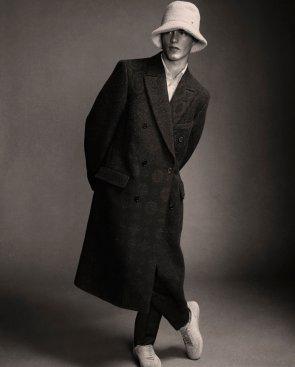 Ermenegildo Zegna Couture wool shirt, trousers and coat; Maison Michel wool hat.
