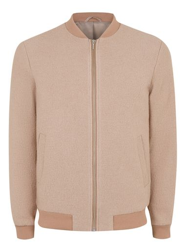 Mens Pink Boucle Textured Wool Rich Formal Bomber Jacket