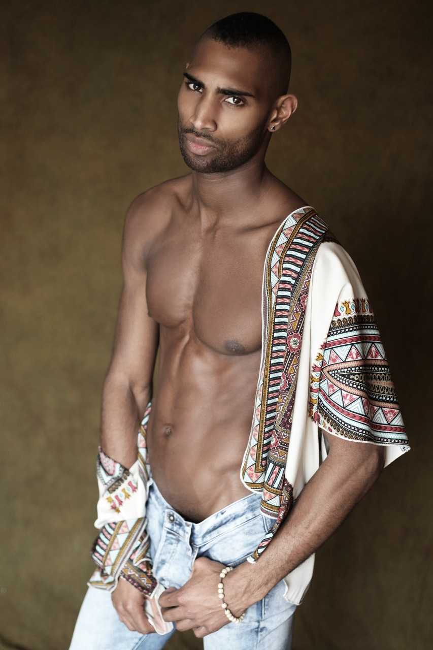 How we wear our clothes expresses how comfortable we are with our own sexuality, that awareness of the ecstasy of being alive now, here, in every single cell of the body. The radiance and grace of new talent Blersian Prince photographed by Thomas Synnamon in New York City