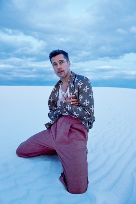 White Sands | Sports jacket, $3,395, by Giorgio Armani / Tank top, $240, by Rick Owens / Pants, $790, by Bottega Veneta / Necklace by David Yurman / Ring by Miansai