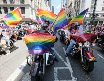 A general view of marchers during the New York City Gay Pride 2017 march on on June 25, 2017 in New York City.