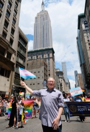 Scott M. Stringer attends the New York City Gay Pride 2017 march on June 25, 2017 in New York City.