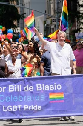 Mayor Bill de Blasio attends the New York City Gay Pride 2017 march on June 25, 2017 in New York City.