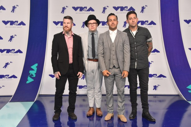 (L-R) Andy Hurley, Patrick Stump, Pete Wentz and Joe Trohman of Fall Out Boy attends the 2017 MTV Video Music Awards at The Forum on August 27, 2017 in Inglewood, California.