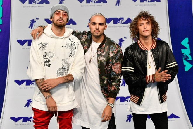 (L-R) Kevin Ford, Matthew Russell and Trevor Dahl of Cheat Codes attends the 2017 MTV Video Music Awards at The Forum on August 27, 2017 in Inglewood, California.