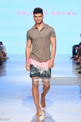 A model walks the runway for Orlebar Brown at Miami Swim Week powered by Art Hearts Fashion Swim/Resort 2018/19 at Faena Forum on July 14, 2018 in Miami Beach, Florida.