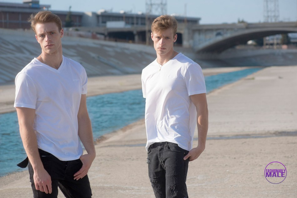 Shirtless Proeh Twins on L.A. River by Walter Tabayoyong