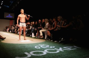 Damian McKenzie of the New Zealand All Blacks walks the runway during the Jockey show during New Zealand Fashion Week 2018 at Viaduct Events Centre on August 30, 2018 in Auckland, New Zealand.