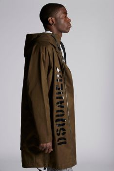 Cotton Twill Parka With Dsquared2 Logo