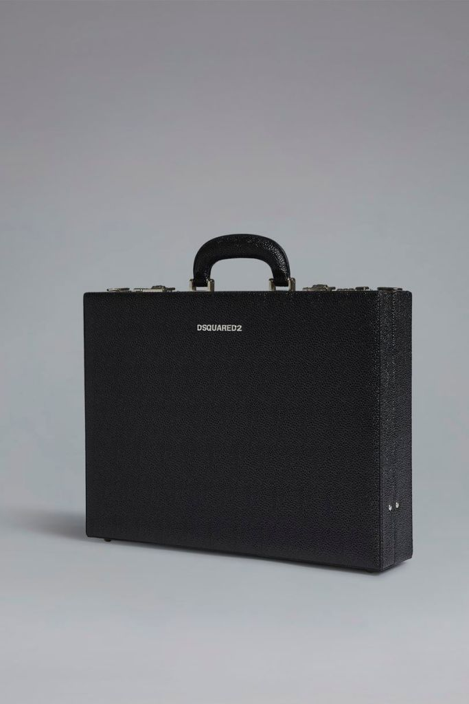 Black leather briefcase by Dsquared SS19