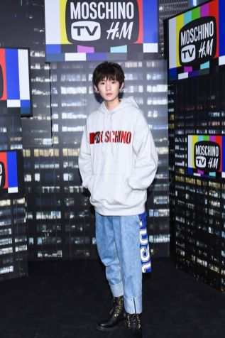 Roy Wang attends the Moschino x H&M runway at Pier 36 on October 24, 2018 in New York City.