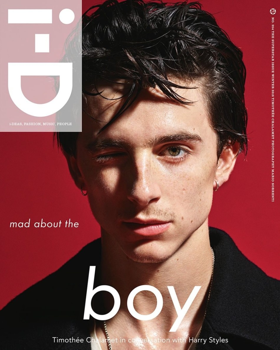 Actor Timothée Chalamet by Mario Sorrenti for i-D Winter 2018