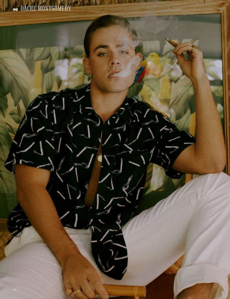 Actor Dacre Montgomery smocking