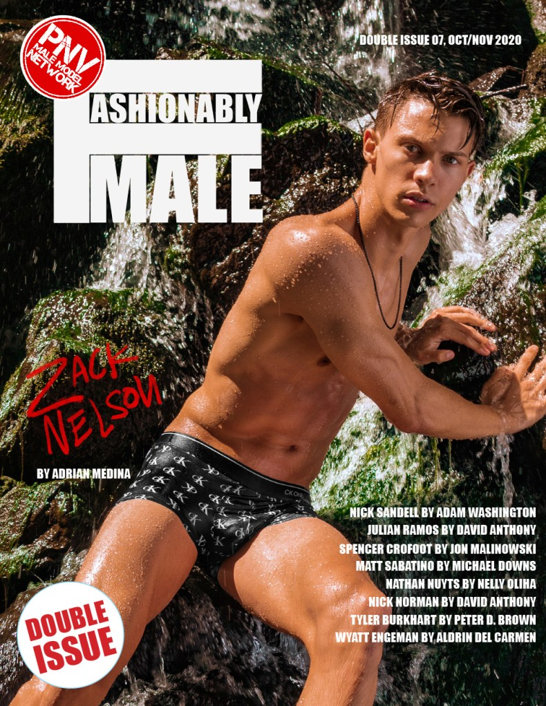 Zack Nelson by Adrian Medina for PnVFashionablymale Magazine Issue 07 cover
