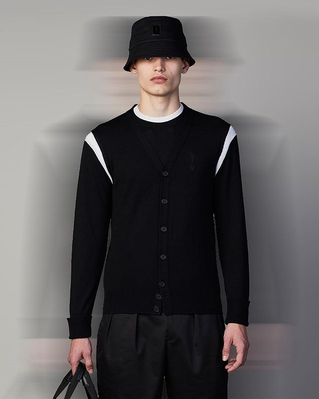 The whole collection is a HYBRID, composed, as is today's masculine wardrobe, of FORMALISED SPORTSWEAR and MODERN TAILORING.