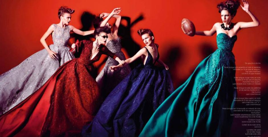 ELIE SAAB Autumn-Winter 2013-14 - Franzi Mueller, Camille D, Paula S, Anastasia T & Agy G - Shot by Kristian Schuller - Styled by Peggy Schuller - October issue of French Revue De Modes