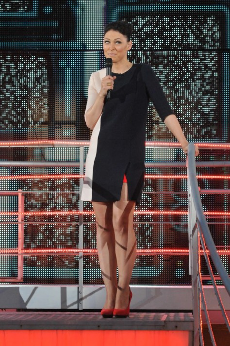 Emma Willis black white contrast mini dress red shoes fashion style big brother eviction