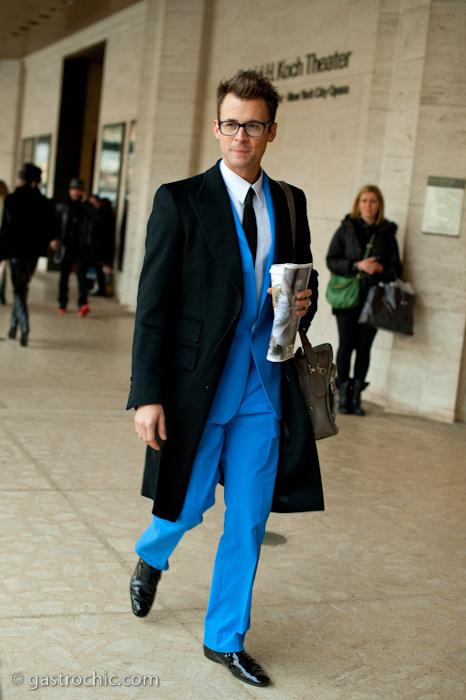 Brad Goreski in a Blue Suit at the Diane von Furstenberg Show