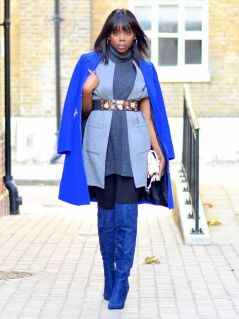 epiphanniea_ootd_london_fashion_blogger_primark_grey_sleeveless_cable_knit_tunic_warehouse_grey_sleeveless_bonded_jacket_hm_cobalt_blue_coat_simmi_shoes_blue_suede_cher_pointed_over_the_knee_boots_2