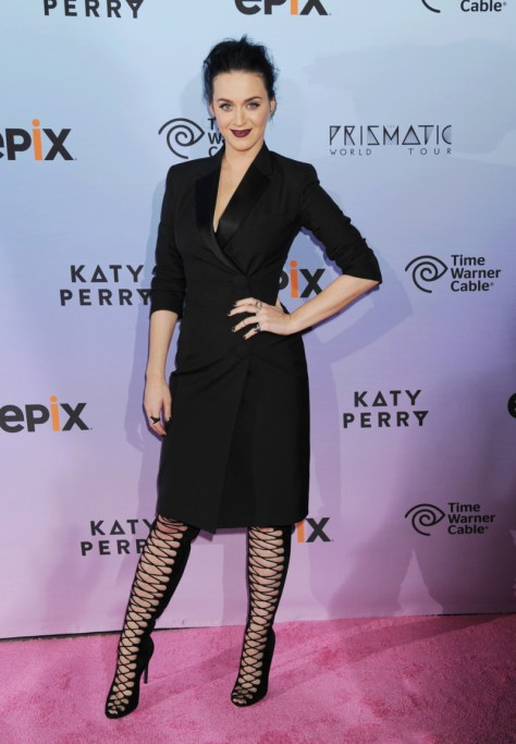 Katy Perry arrives at the World Premiere Of EPIX's 'Katy Perry: The Prismatic World Tour' at The Ace Hotel Theater in Los Angeles