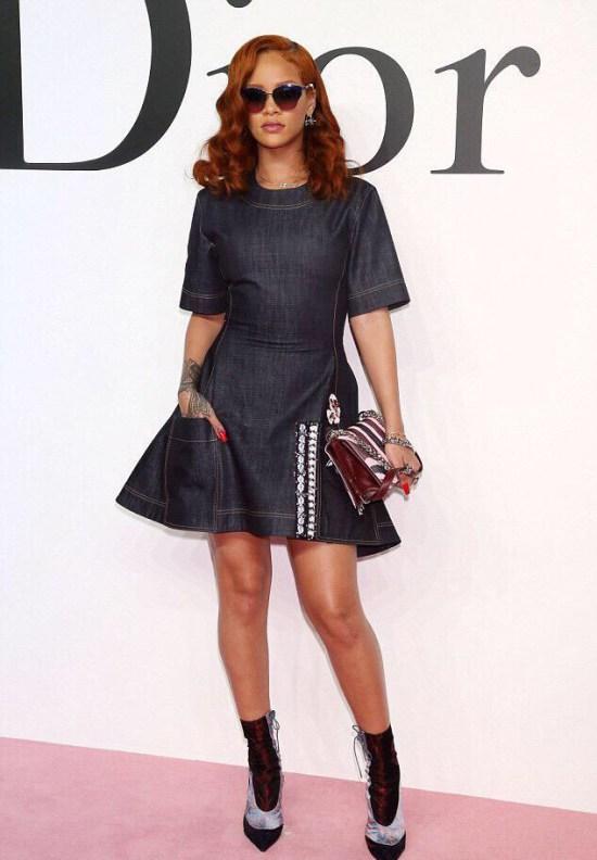 Rihannas-Dior-Fall-2015-Tokyo-Show-Custom-Dior-Denim-Dress-and-Dior-Resort-2016-Lace-Up-Boots