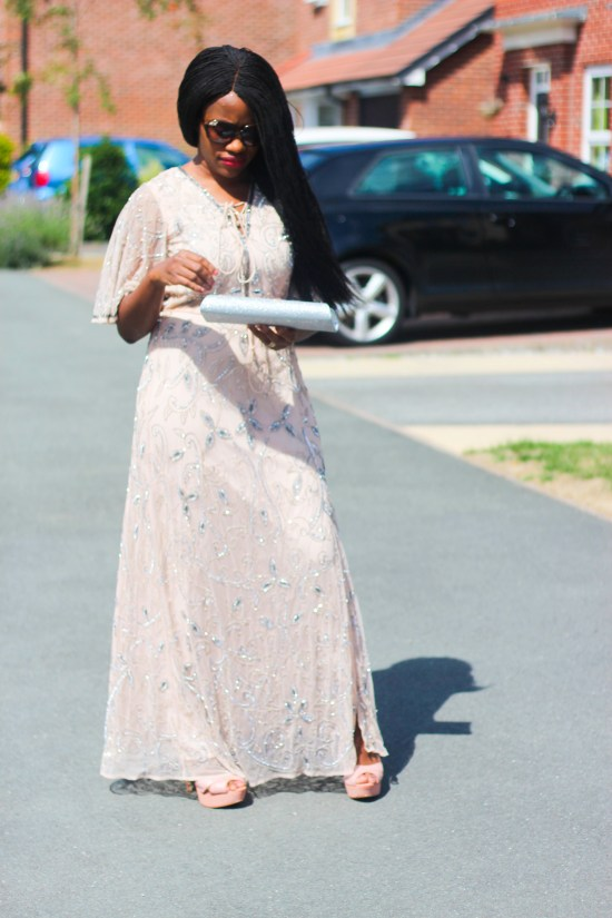 Beige flute sleeve sequin maxi dress picture