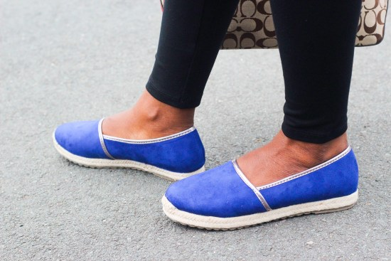 Blue faux suède shoes image