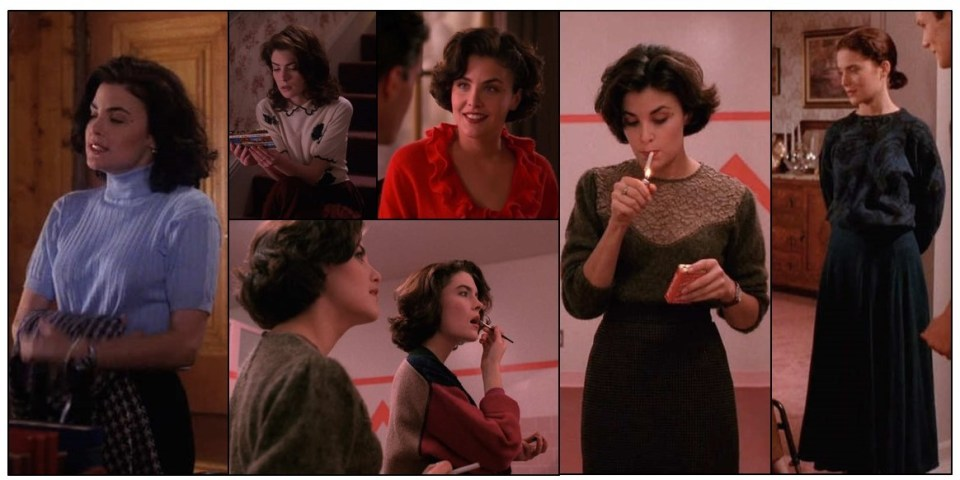 The heroines of Twin Peaks rocking sweaters: still from the series