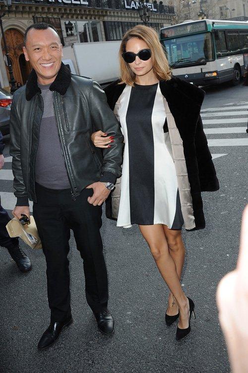 nicole-richie-joe-zee-stella-mccartney-fall-2013-fashion-show-paris-fashion-week-stella-mccartney-pre-fall-2013-two-tone-dress