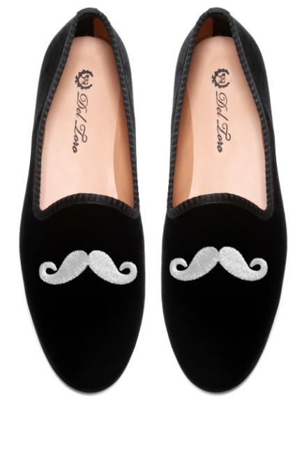del-toro-fall-2013-prince-albert-black-velvet-slipper-loafers-mustache-embroidery