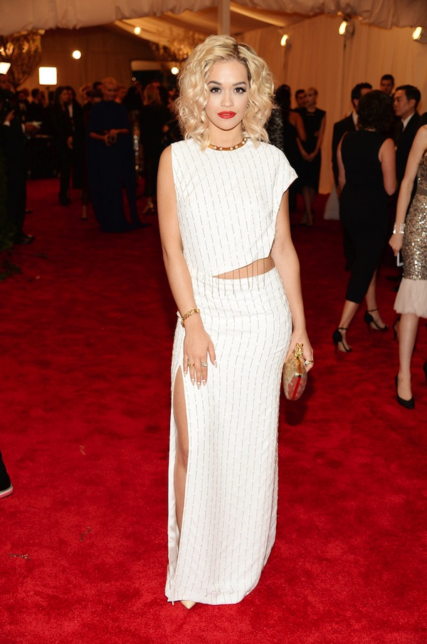 rita ora in thakoon Anne Hathaway 2013 met galal punk chaos to couture costume institute