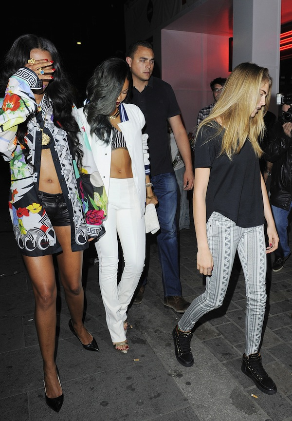 Rihanna and Cara Delevingne arrives at Cirque Du Soir nightclub in London