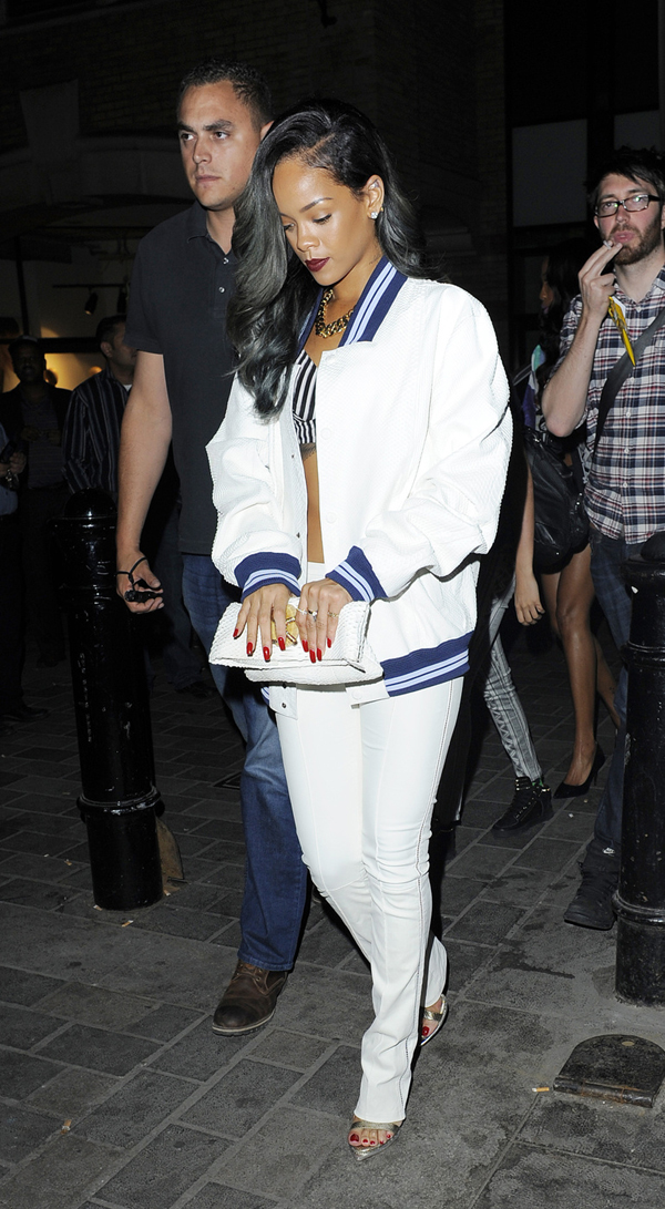 _Rihanna's-London-Cirque-du-Soir-Nightclub-Roberto-Cavalli-White-Varsity-Jacket,-White-Pants,-and-Python-Sandals