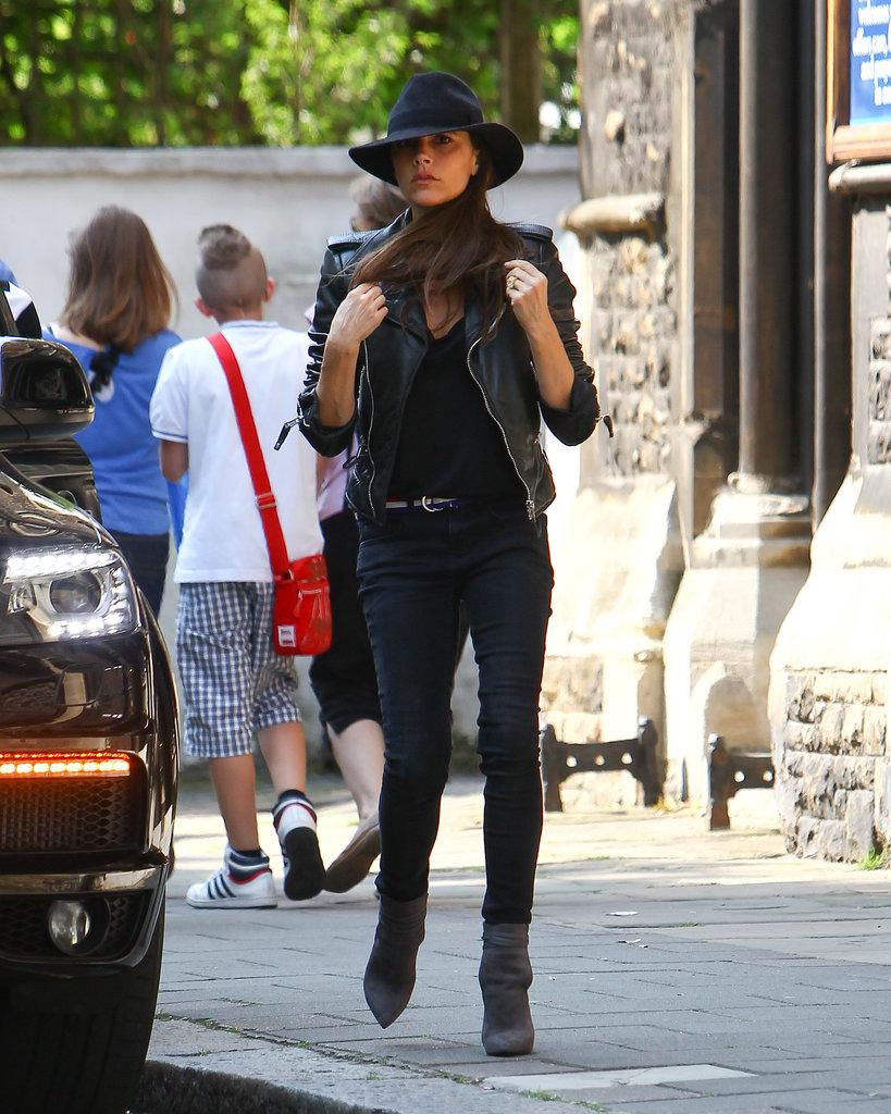 victoria-beckham-london-balenciaga-leather-jacket-maison-michel-trilby-velvet-hat-saint-laurent-paris-booties-3