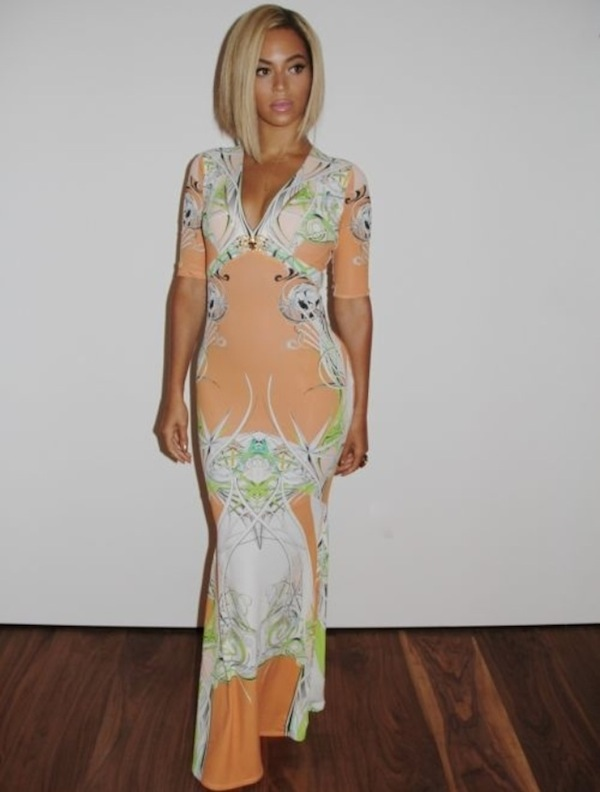 Beyonce's Tumblr Roberto Cavalli Pink and Orange Printed Dress