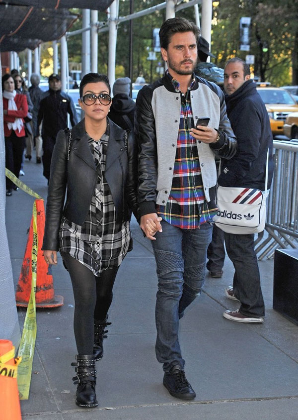 Kourtney-Kardashia-New-York-City-Rails-Plaid-Tunic-and-Saint-Laurent-Buckle-Boots