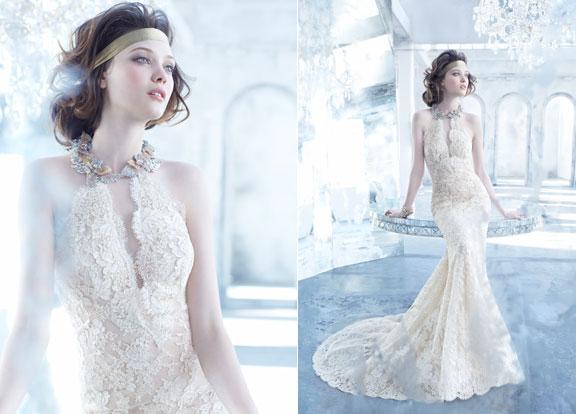 Lazaro-bridal-lace-trumpet-gown-scalloped-v-halter