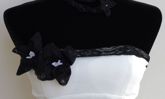 Final DIY Design of White Dress and Black Lace Clothing Kit