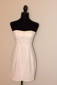 White Strapless Fit and Flare Plain Dress
