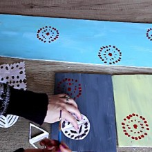 Diy painting canvas with a stencil