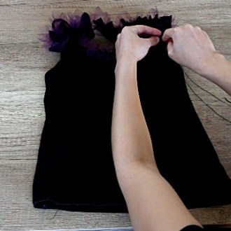 DIY top with fabric ruffles