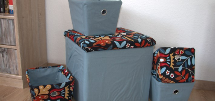 Fabric covered storage bins and boxes