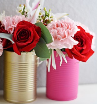 DIY Spring Can Vases Image by Angie via littleinspiration.com