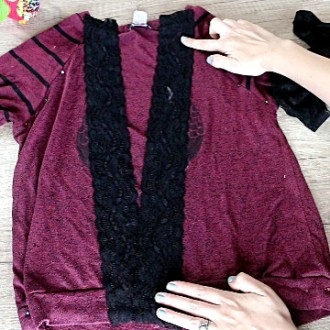 How to Turn a Sweater into a Cardigan: Making a DIY Cardigan with Lace